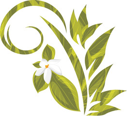 Ornamental element with blooming white flower