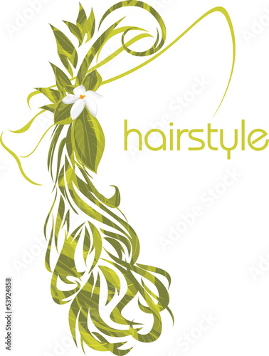 Elegant female hairstyle. Icon for design