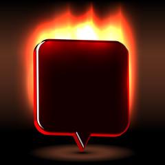 Advertising urgent  flaming label