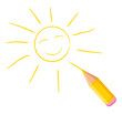 Yellow colored pencil drawing a smiling sun.