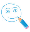 Blue colored pencil drawing a happy face.