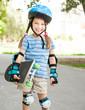 cute little girl in a helmet