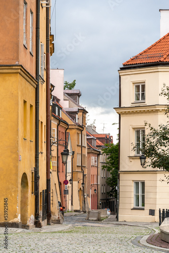 Narrow street in Warsaw old city - Poland - 53925845