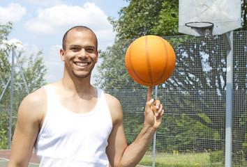 Basketball Player Spinning the Ball
