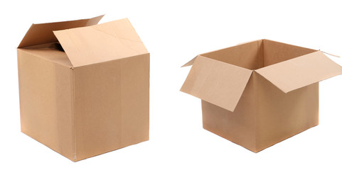 opened and closed corrugated cardboard boxes