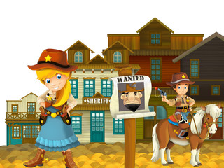 Cowgirl or Cowboy - wild west - illustration