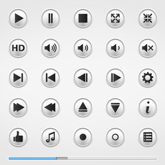 Buttons for Media Player and Blue Progress Bar