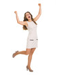 Full length portrait of happy young woman rejoicing success