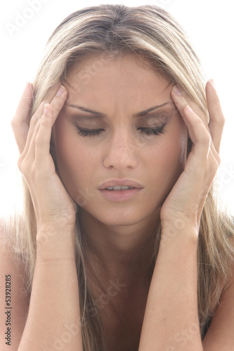 Model Released. Young Woman with a Headache