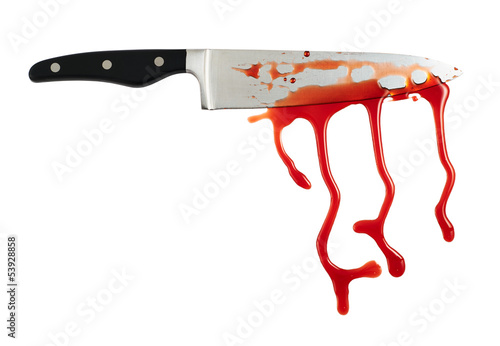 Chef's steel knife with a blood stains