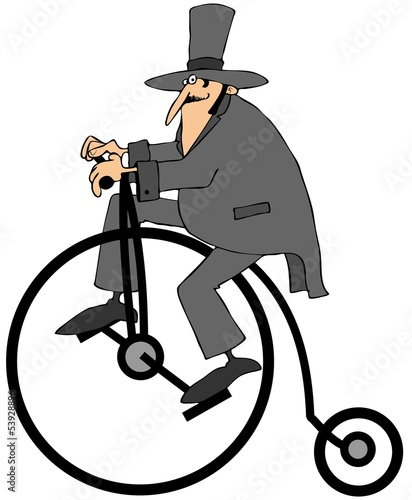 Man riding an old fashion bicycle