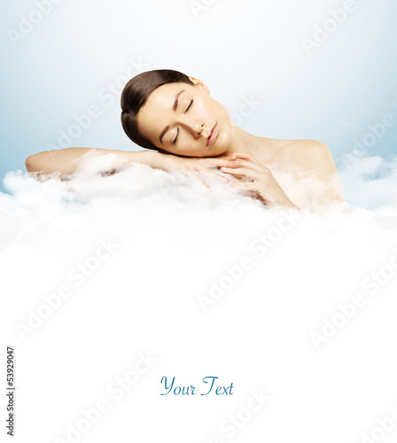 girl sleeping on clouds