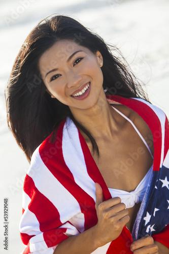 Beautiful Asian Woman Girl in American Flag on Beach