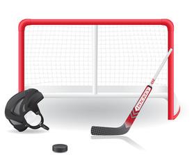 hockey set vector illustration isolated on white background