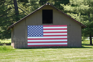 Old Barn with Big American Flag
