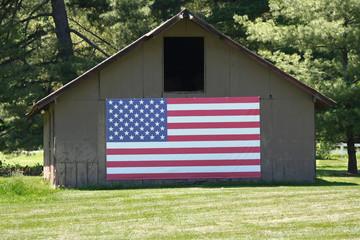 Old Barn with Big American Flag