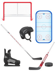 set of hockey equipment vector illustration