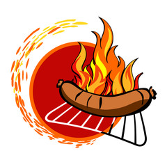 Grill sticker on fiery background.