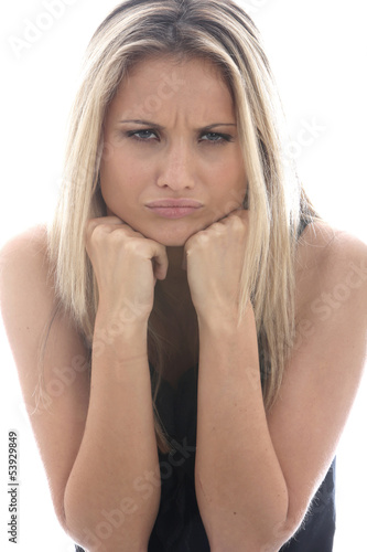 Model Released. Angry Sad Young Woman