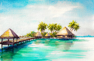 Over water bungalows in blue sea, watercolor painted.