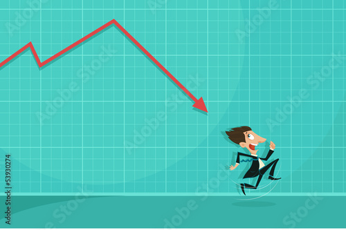 Loss arrow hitting Businessman