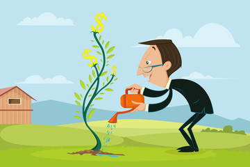 Businessman watering Dollar Plant