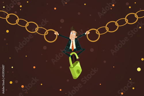 Businessman holding Chain