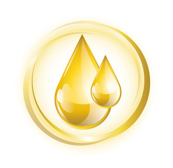 Yellow glossy oil drops with rings