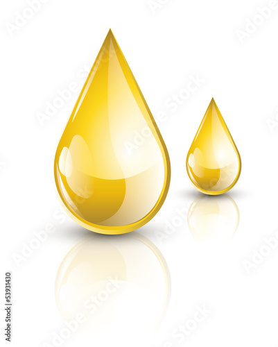 Yellow glossy oil drops