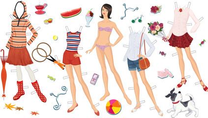 Paper doll of a teen girl and clothing for her