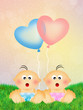 Babies with heart balloons