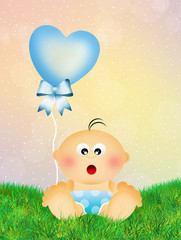 Child with heart balloon