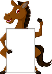 cute brown horse cartoon with blank sign