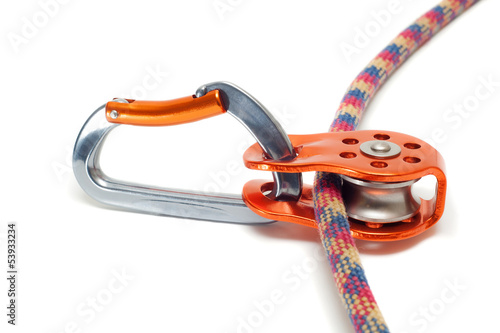 Carabiner with pulley on the rope