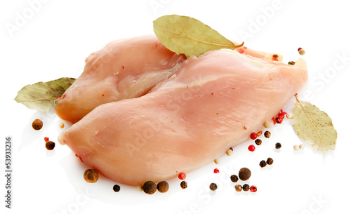 raw chicken meat with spices, isolated on white