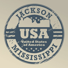 Grunge rubber stamp with name of Mississippi, Jackson, vector