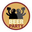 Beer Party label, vector illustration