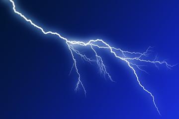 Blitz auf blauem Hintergrund