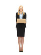 businesswoman delivering cardboard box