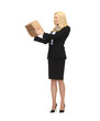 attractive businesswoman holding cardboard box