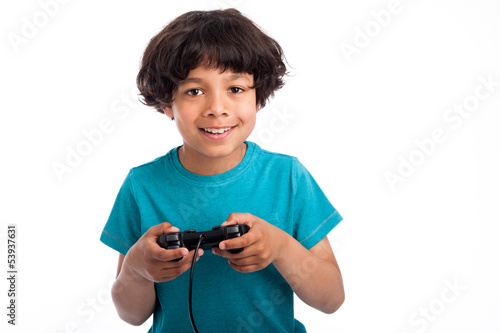 Cute Mixed Race Gamer.