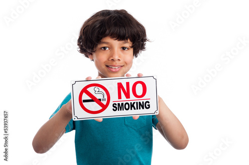 Cute Mixed Race Boy with No Smoking Sign.