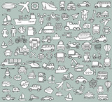 Big doodled transportation icons collection in black-and-white