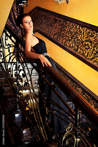 belle on stairs