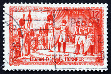 Postage stamp France 1954 Napoleon Awarding Legion of Honor Deco
