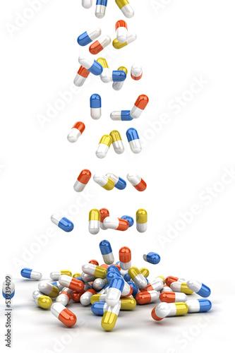 Pills falling