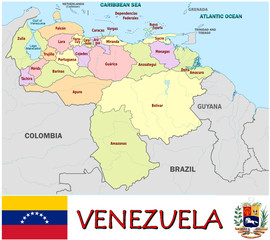 Venezuela South America national emblem map symbol motto