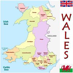 Wales Europe UK national emblem map symbol motto