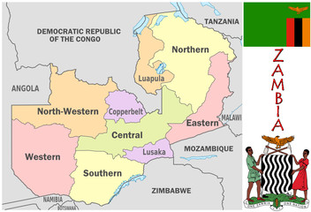 Zambia Africa national emblem map symbol motto