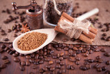 coffee with spices on a burlap background